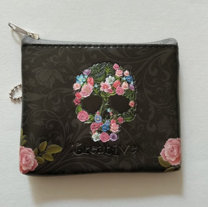 Floral Skull Coin Purse