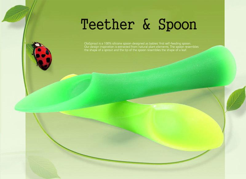 2pcs/set Baby Feeding Bamboo Leaf Spoon
