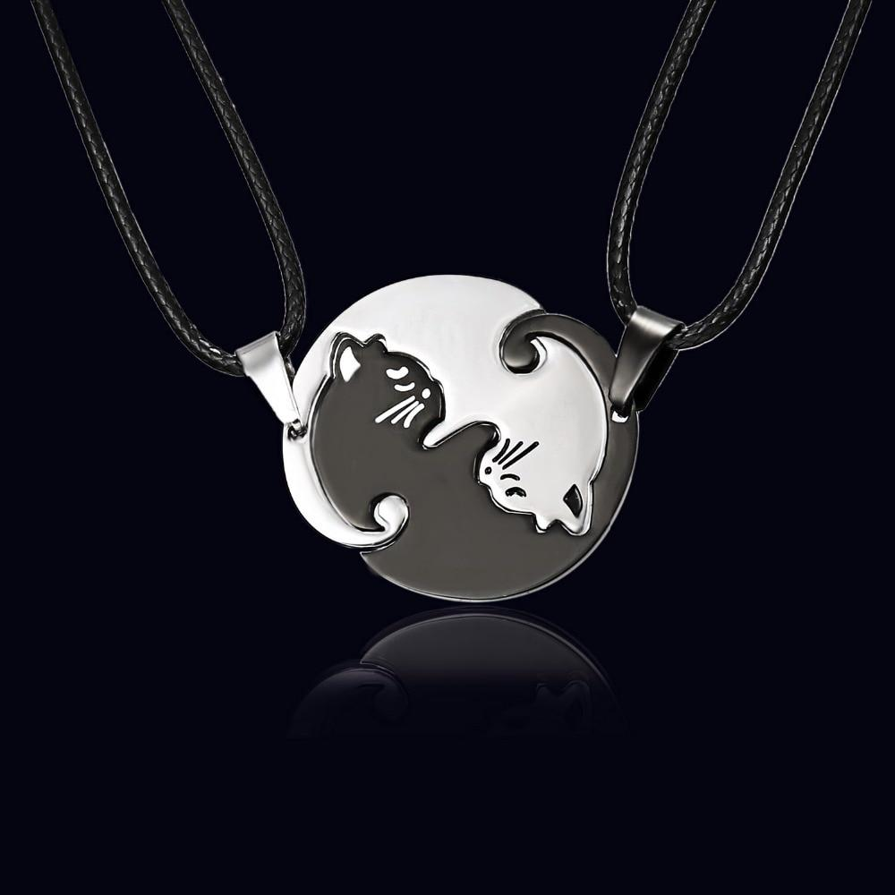 2Pcs/ Set Yin Yang Cat Couples Necklaces