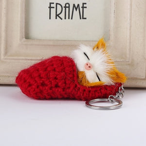 Sleeping Cat Keychain
