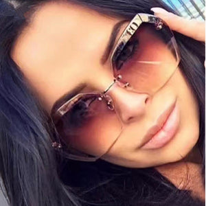 2019 Luxury Vintage Rimless Sunglasses Women Brand Designer Oversized Sunglasses Female Sun Glasses for Lady Mirror Shades UV400