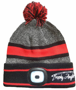 Trophy Rechargable 200 Lumen LED Knit Grey/Red Pom Hat