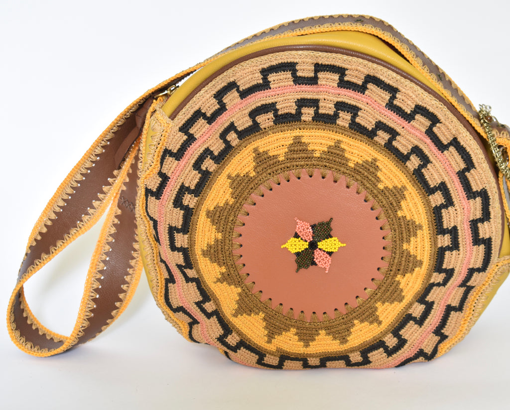Boho Round Leather Bag - Mustard