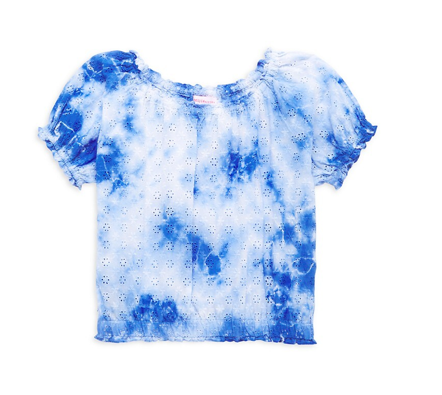Design History Girl's Tie-Dye Eyelet Top