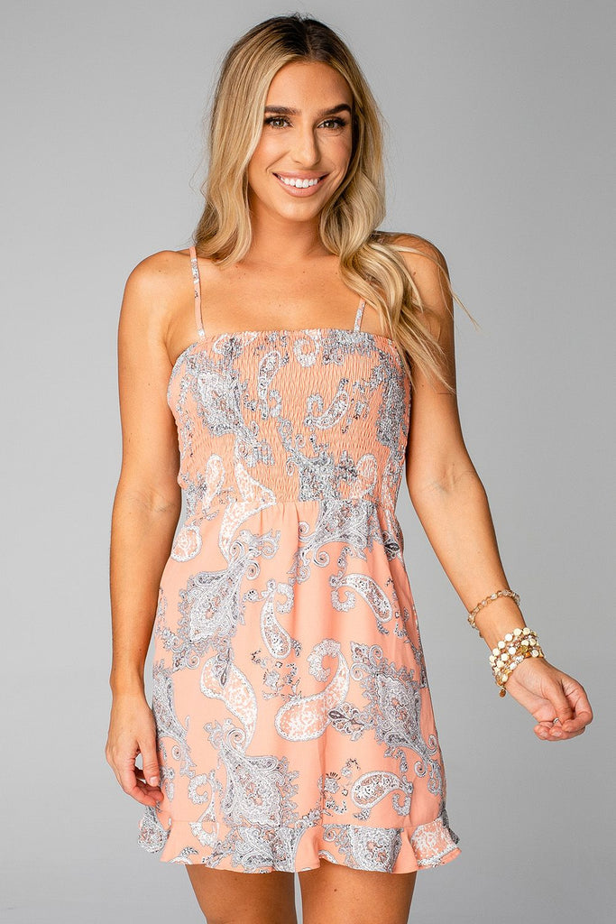 BL HALLE SMOCKED BUST MINI DRESS - PAISLEY