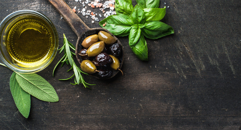 green and black Mediterranean olives