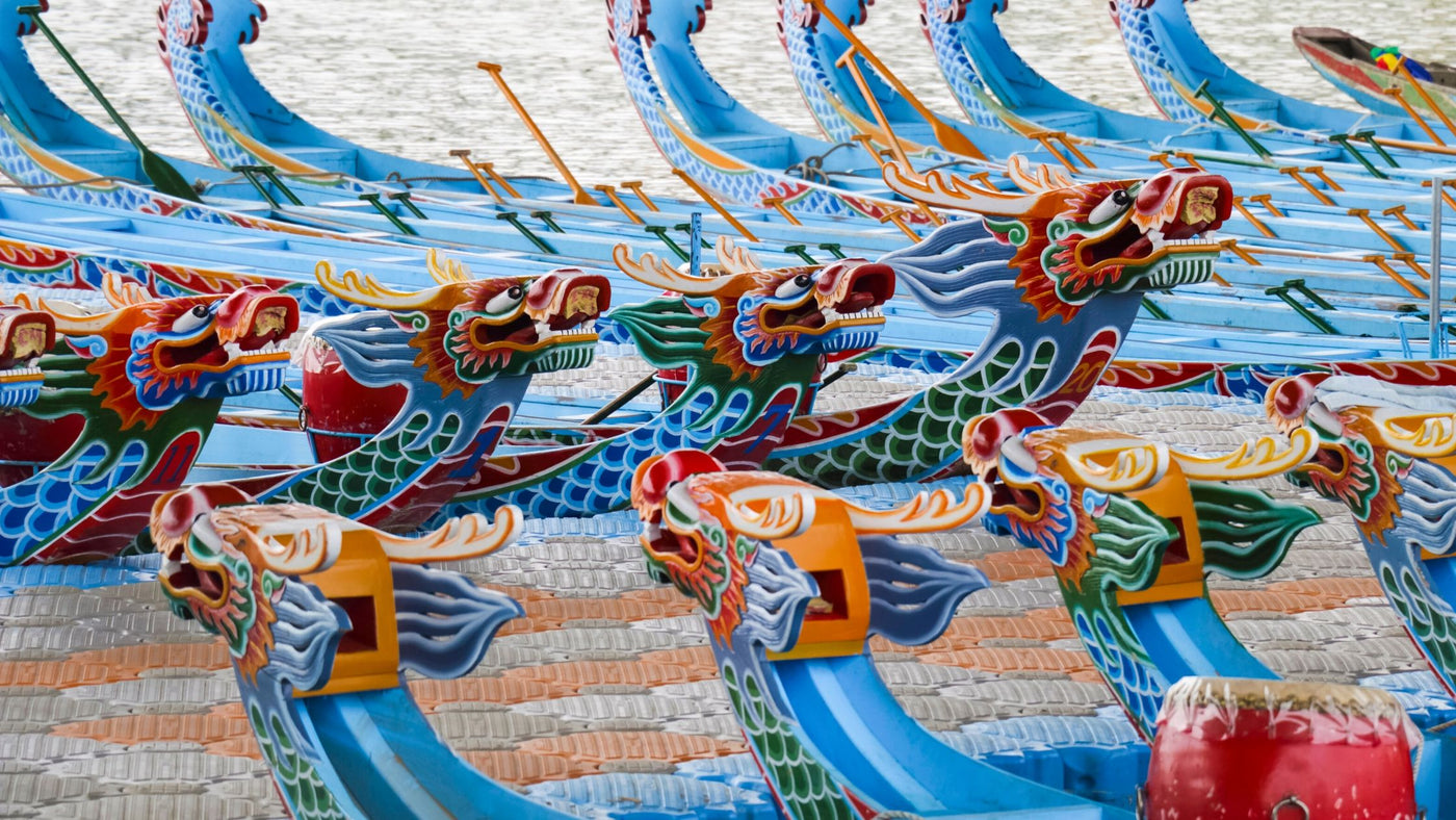 Chinese dragon boat festival blue boats