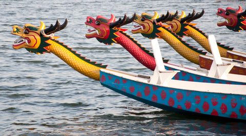Chinese dragon boat festival boats