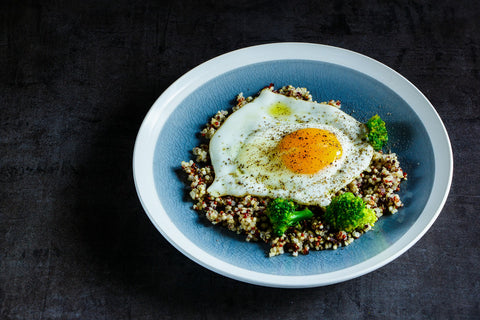 quinoa, broccoli, and egg bowl