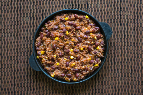 bowl of quinoa red bean chili