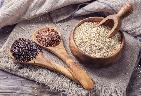 red, black, and white quinoa seeds
