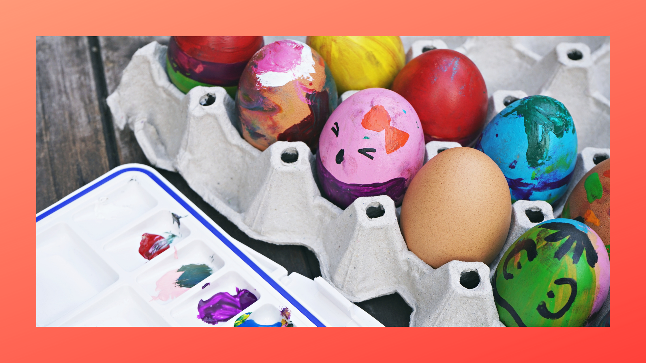 decorated eggs in an egg carton national egg day