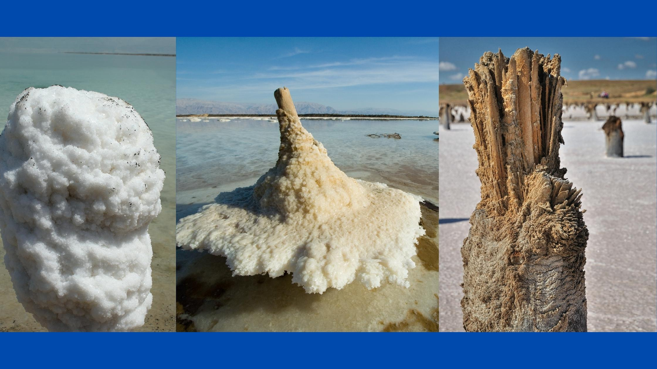 large chunks of salt on the shore of the dead sea in israel