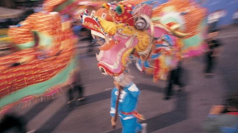 Chinese new year parade with dragon costume