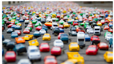 traffic jam of toy cars