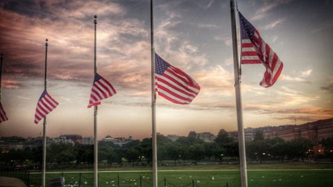 US flags at half mast for memorial day