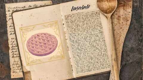 old book with pretend linzertorte recipe