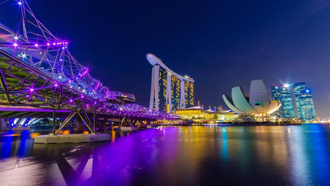 night view of modern singapore