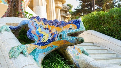 Trencadis dragon at Park Guelle, Barcelona, by Gaudi