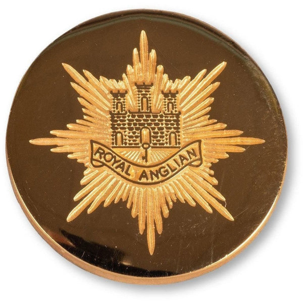 "Blazer Button - Royal Anglian. - Stamped ""Cap Badge""- 24L 