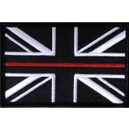 Thin Red Line Fire Service- Union Jack Patch- on Velcro -  75mm x 50mm