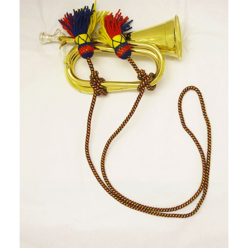 "Regulation Bugle Cord, MoD Specifications, Tri colour (Royal Colours of Red, Blue & Gold) - 103"" Long"