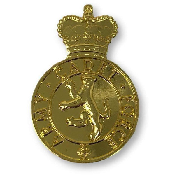 ACF- No1 Dress Cap badge-45x30mm- V Hook Fitting -Gilt Plate | Official Cadet Kit Shop |