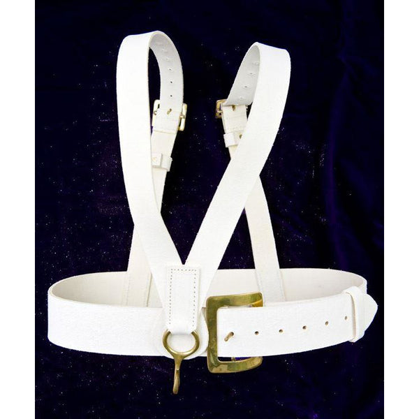 Guards Pattern  Bass Drum Harness, White Leather Buff Finish with Brass Buckles & Hook Fttings