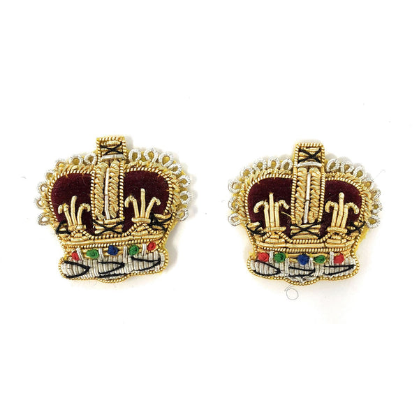 Embroidered Rank Crowns- Gold & Silver - 3/4 inch   - Pair