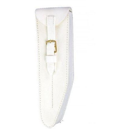 Guards Pattern Bb Flute Pouch White Leather Buff Finish, Brass Fittings