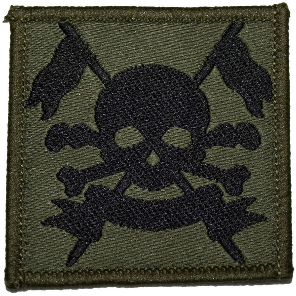 TRF - Royal Lancers - Skull/Crossbones/Lances - Olive/Black - 50 x 50mm - Pack 5