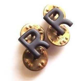 Letter R (Retired OFFICERS ) - Gilt - Spike & Clutch Fitting -Black 
