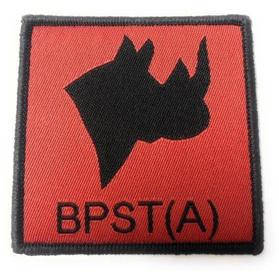 TRF British Peace Support Team BPST (Africa) 6cm x 6cm.  Black Rhino head silhouette on red ground.  
