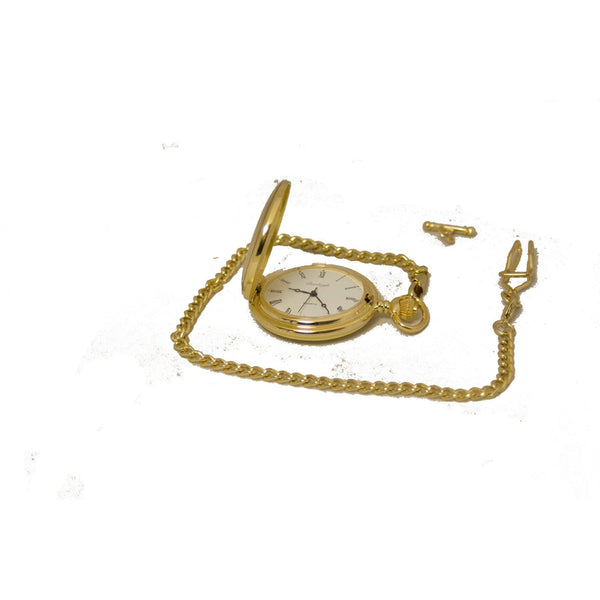 Full Hunter Pocket Watch with Chain - GP - Boxed-Quartz Battery