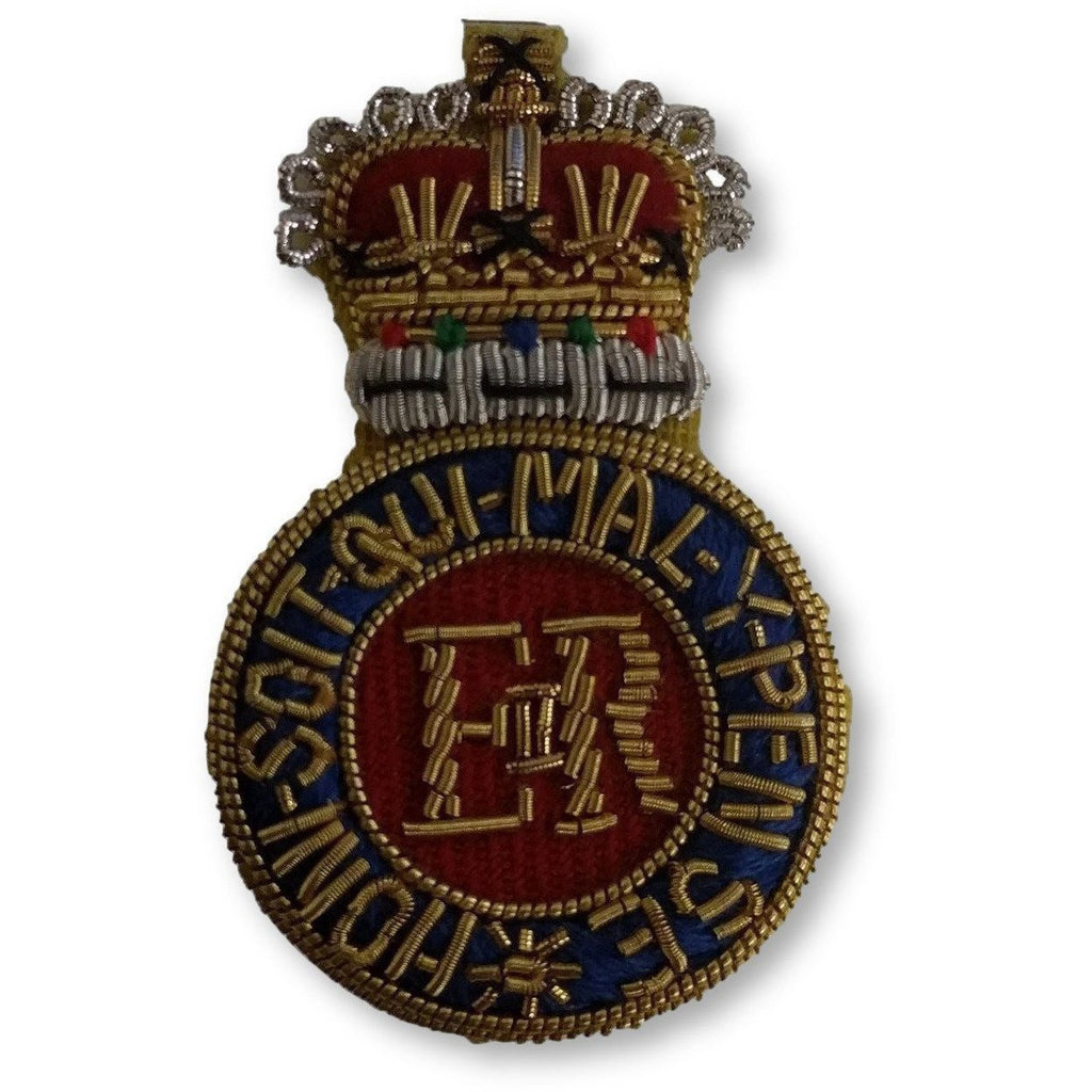 Beret Badge - Household Cavalry Officers - B/W - Sil Cut