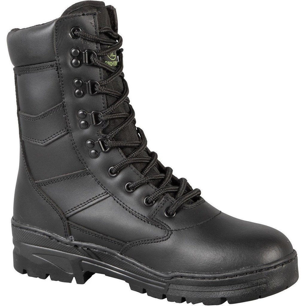 Black Full Leather Patrol Boots