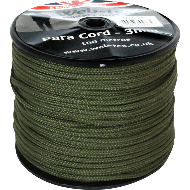 Olive Green 3mm Paracord Reel - 100m