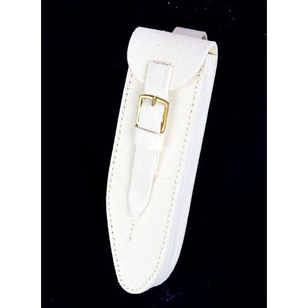 Guards Pattern Eb Piccolo Pouch in White Leather Buff Finish Brass Fittings