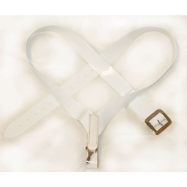 2 inch Bass Drum Sling, Crossover Configuration White PVC Matt Finish with Chrome Buckles & Hook Fttings