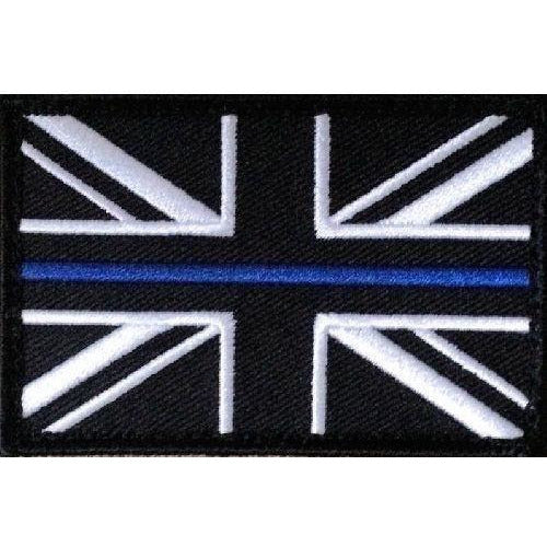 Thin Blue Line Police- Union Jack Patch- on Velcro -  75mm x 50mm