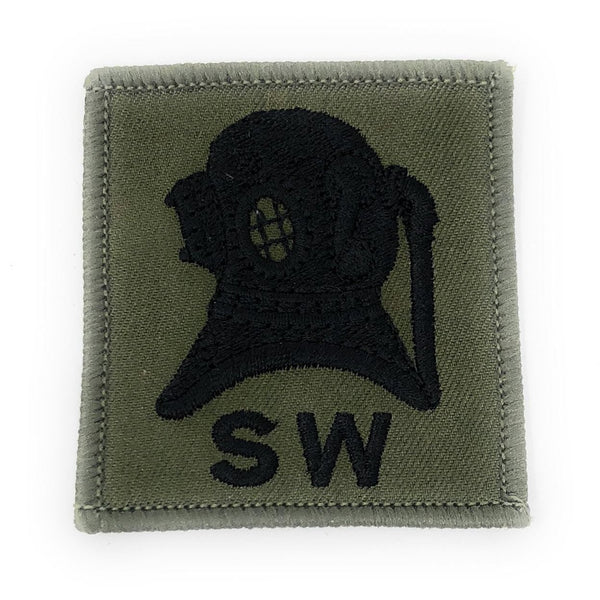 Trade Badge - Divers Qualification Badge (SW) - Black on Olive - Pair