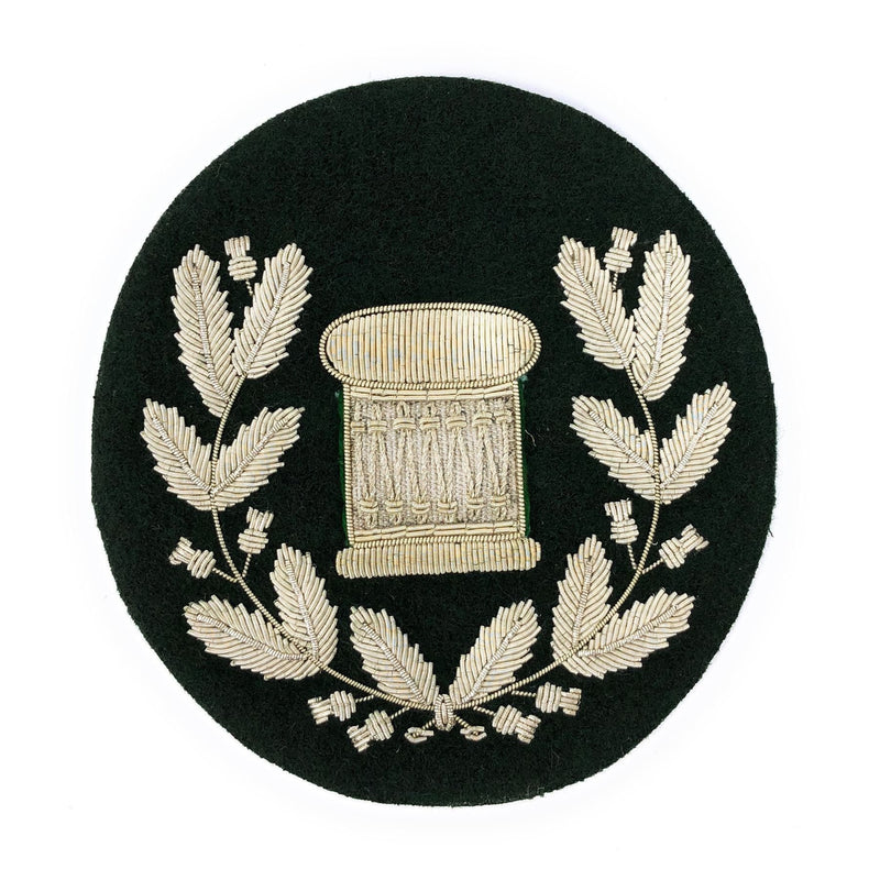 No1 Dress Drum Major's Badge in Wreath - Silver/Rifle Green