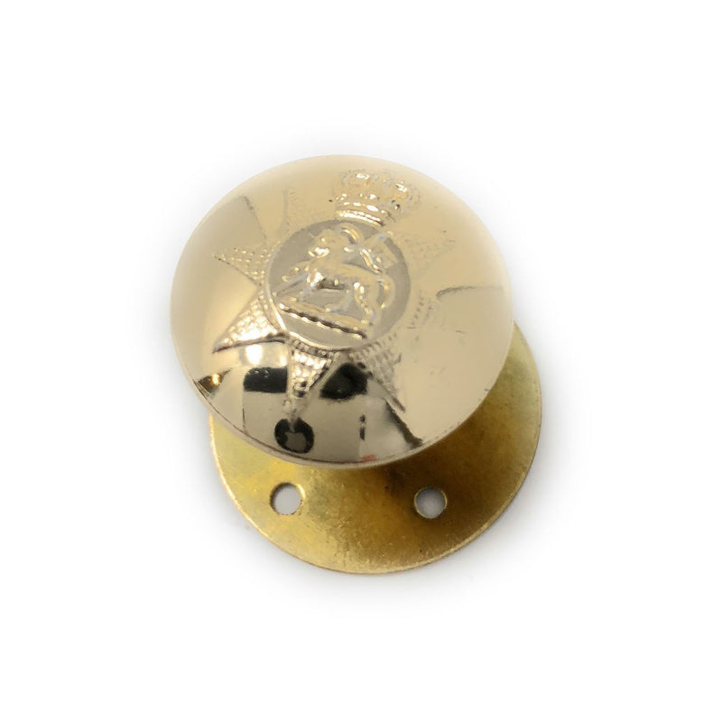 PWRR - Tunic Button (Queen's Regiment Pattern) - Gold AAL - 30L - Screw Button