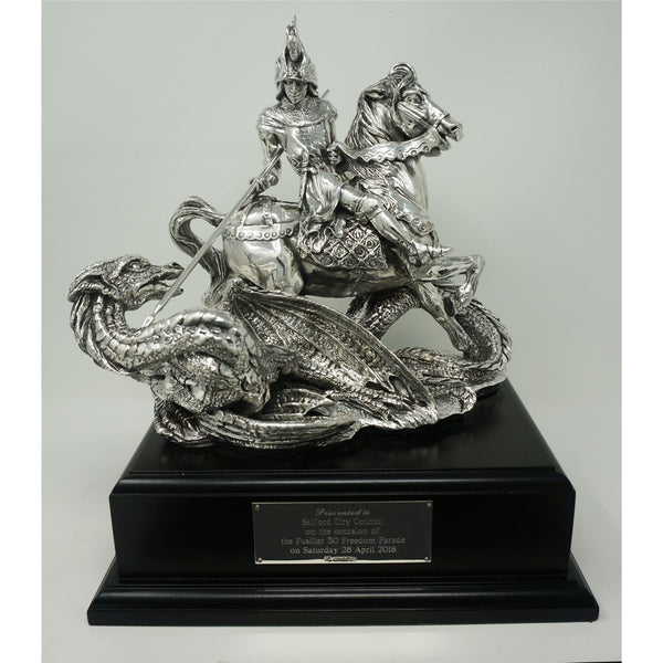 Saint George and Dragon- Silver  -Large Plinth