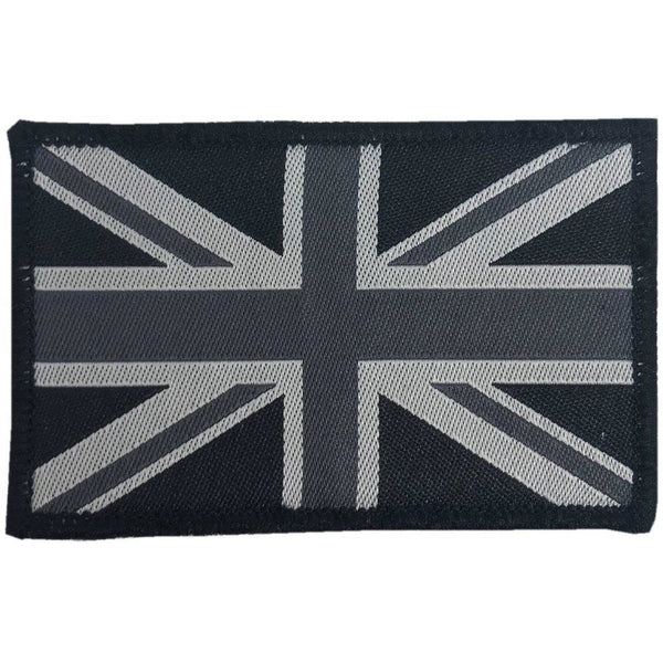 Embroidered Black Union Jack GB Patch - Pair