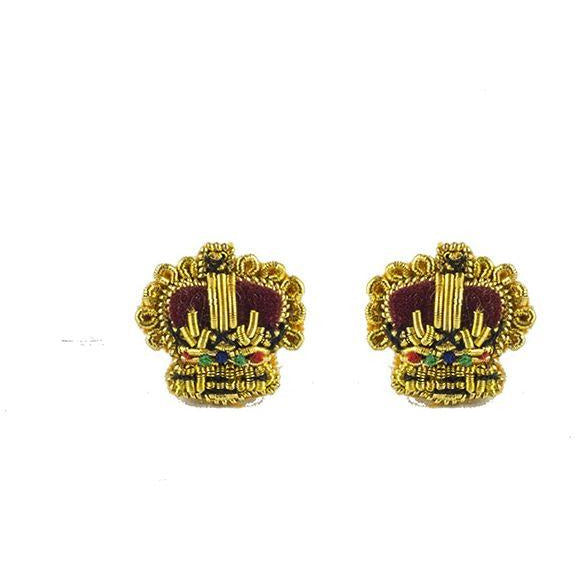 Embroidered Rank Crowns - Gold - 3/8 inch  - Pairs