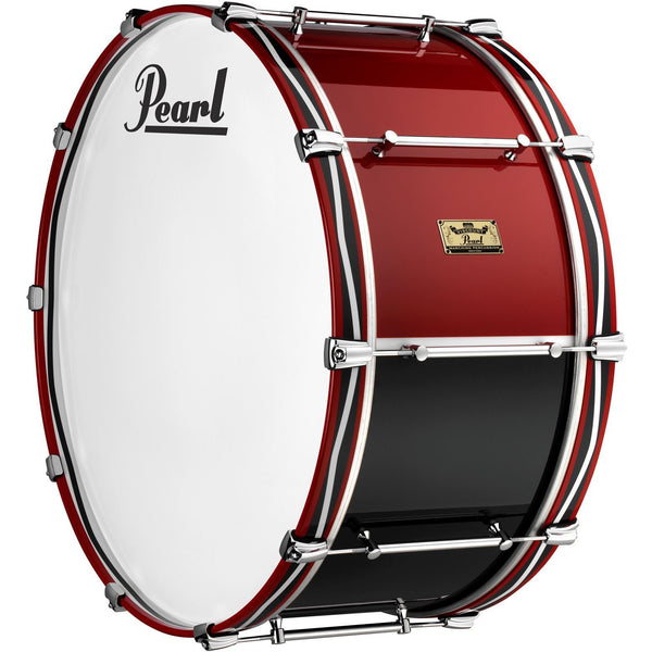 "Viscount Model Pearl Military Bass Drum  26"" x 12""  Red & Blue (RB#795) Royal Pattern Wooden Counterhoops"