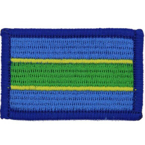 TRF - Queens Royal Hussars (QRH) TRF  - Blue/Yellowlow/Green with Blue Overlocking - 55mm x 43mm.  - Pack 5