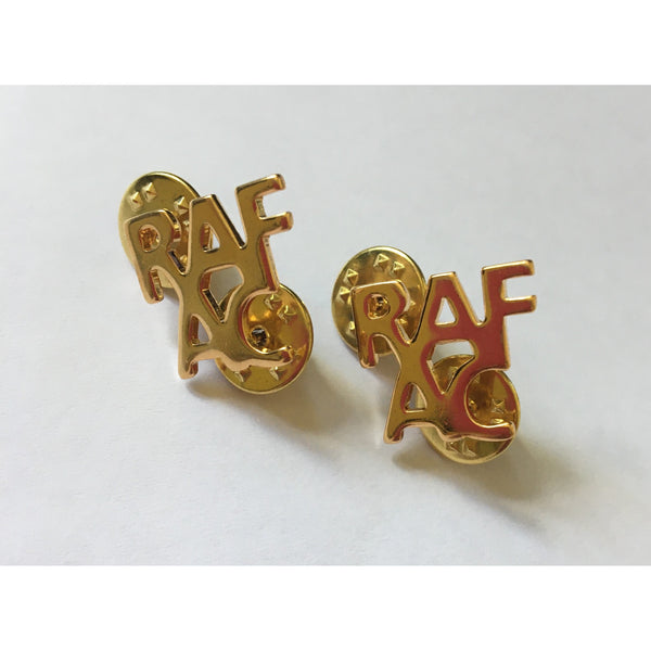 Letter RAFAC Pin Badges - Gilt - Spike & Clutch Fitting