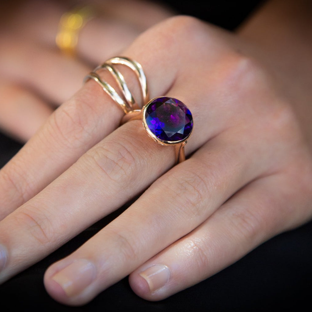 """Vegas"" Purple Amethyst Gold Ring."